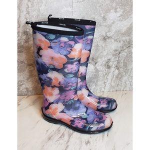 Kamik Floral Rain Boots Purple Blue Rubber Heavy 9